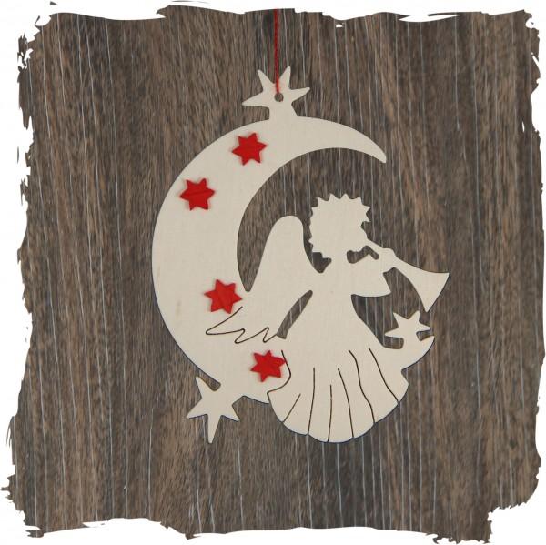 Engel im Mond mit Sternen, natur, Weihnachtsdeko aus Holz