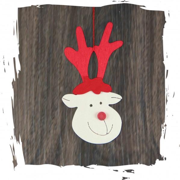 Rentiergesicht, natur, Weihnachtsdeko aus Holz