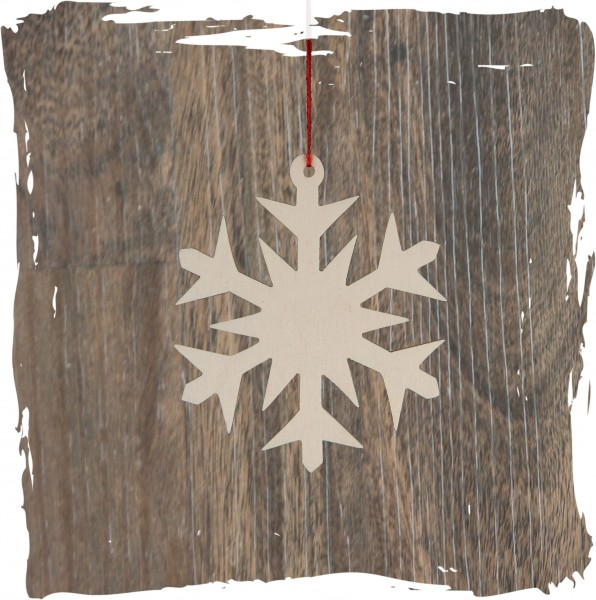 Schneekristall, natur, Weihnachtsdeko aus Holz