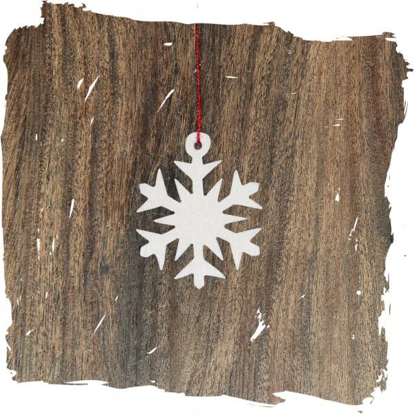 Kleines Schneekristall, natur, Weihnachtsdeko aus Holz