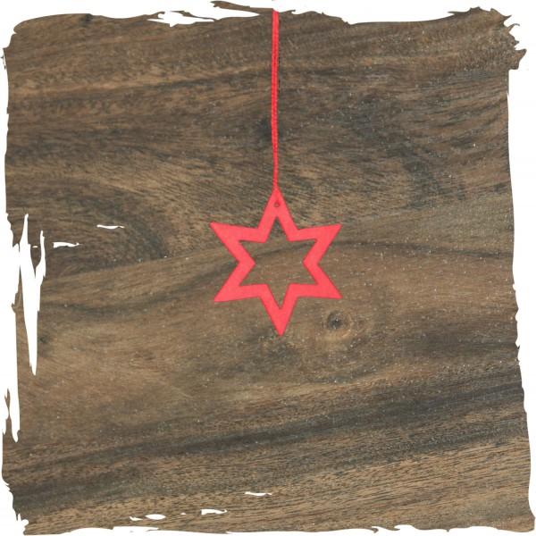 Kleiner Stern offen, rot, Weihnachtsdeko aus Holz