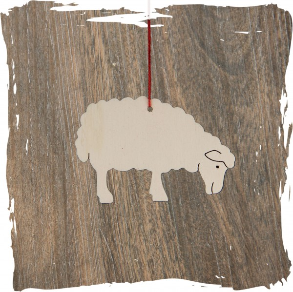 grasendes Schaf, natur, Weihnachtsdeko aus Holz