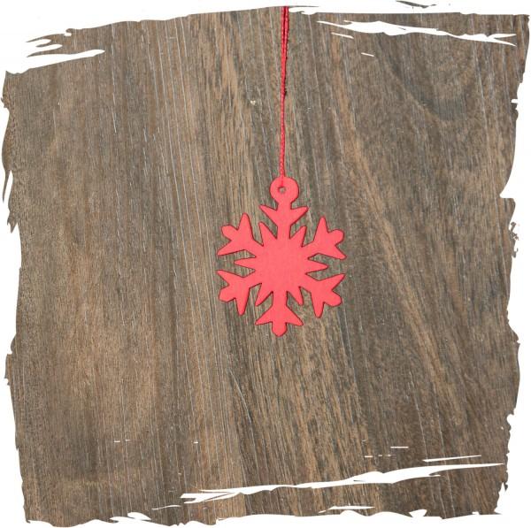 Kleines Schneekristall, rot, Weihnachtsdeko aus Holz