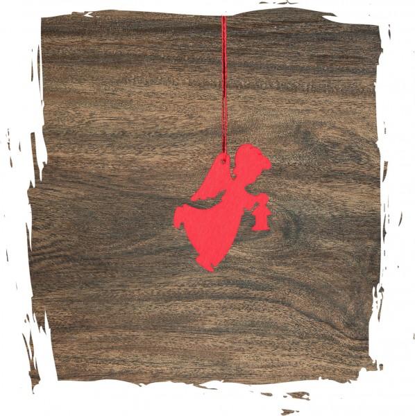 Kleiner Engel mit Laterne, rot, Weihnachtsdeko aus Holz