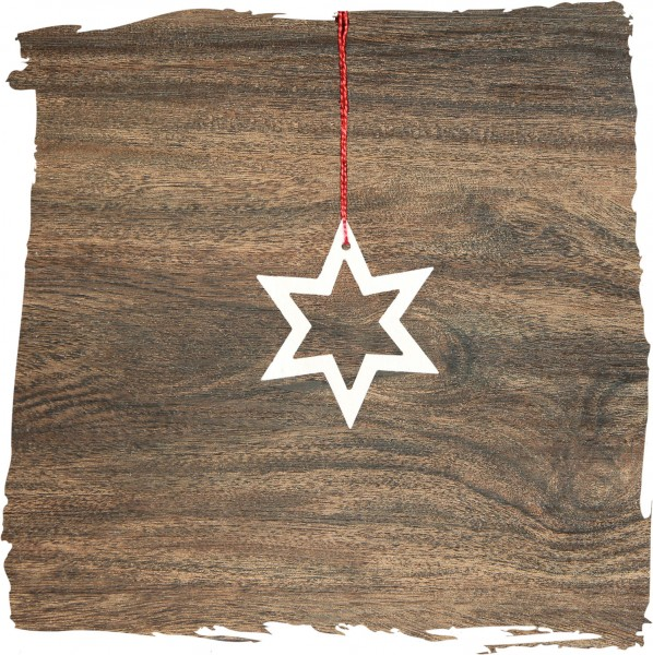 Kleiner Stern offen, natur, Weihnachtsdeko aus Holz