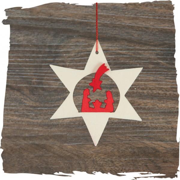 Krippe im Stern, natur, Weihnachtsdeko aus Holz