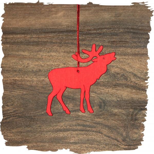 Hirsch, rot, Weihnachtsdeko aus Holz